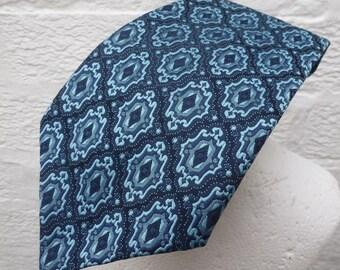 Blue necktie 1960s tie mod accessory vintage wedding 60s present him gift Ascot necktie suit tie office work retro fashion boyfriend rustic.