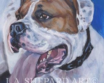 "AMERICAN BULLDOG portrait dog art canvas PRINT of LAShepard painting 12x12"""