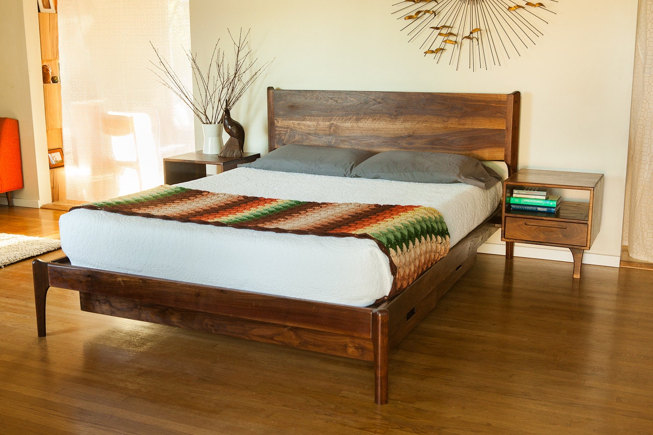 Classic Modern Bed with Storage and Attached Night Stands