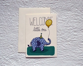 Balloon Elephant Baby Card