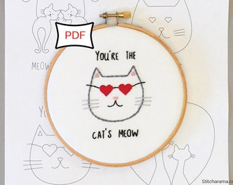 Cats in Love Embroidery Pattern • PDF Download