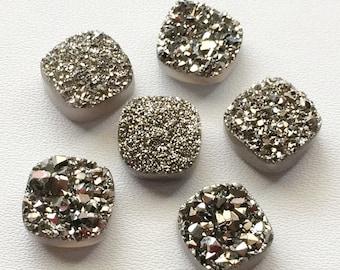 Dark Silver Druzy,Titanium Dark Silver Druzy, Matched Pairs, Cushion Druzy, Druzy Jewelry, Silver Druzy Cabochon, Druzy Bead, 6 Pcs, 12x12mm