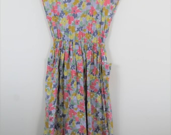 80's floral cotton dress // medium