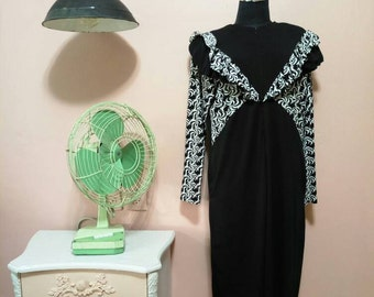 Black And White dress, Long Dress,70s Dress,Black with muslin Vintage Dress For Women 1970s, Midi Dress, Long sleeves Dress,Maxi Dress