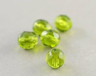 Green Glass Beads, 8mm Oval Beads, Czech Glass, Olive Green, Five
