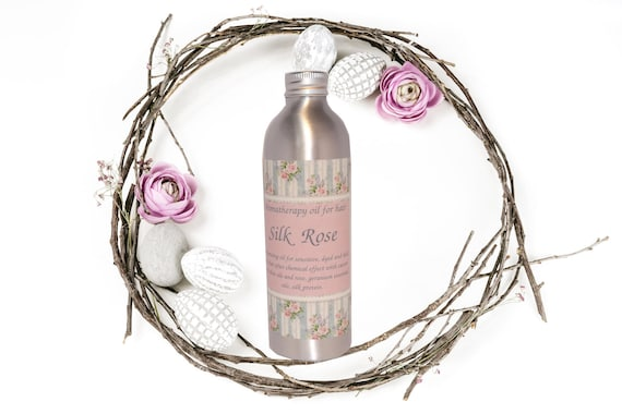 "Organic and volumizing aromatherapy oil for hair ""Silk Rose"""