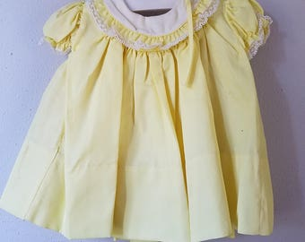 Vintage 50s Girls Yellow Dress with White Round Collar and Lace by C.I. Castro - Size 12 months- New, never worn