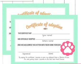 Yellow red circus carnival monkey pet adoption certificates mint kitten birthday party adoption certificates printable digital design yadclub
