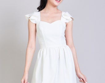 Olivia - White Dress Bridesmaid Dress White Formal Dress Cocktail Dress Bridal Wedding Party Dress White Sundress Summer Dress