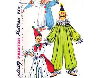 1950er Jahre Clown Kostüm Simplicity 4864 Rüschen Clown Anzug Hut Weste Kindergröße 6-8