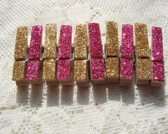 Mini Glitter Clothespins Pink and Gold, Set of 10, Wedding Decor. Party Decor, Pink and Gold Party Theme, Twinkle Twinkle