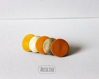 Leather white saffron gold Barrette