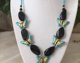 Charming Cloisonne Butterflies and Carved Black Onyx Leaf Necklace.