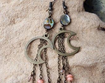 Mermaid Moon Earrings - Crescent Moon - Abalone Beads - Mermaid Jewelry - Mermaid Dangle Earrings - Boho Mermaid - Moon Jewelry