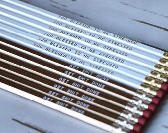Get Stuff Done Gold Pencil Set Quote Embroidered Engraved Personalized Birthday Gifts