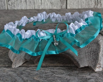 Teal organza and white satin wedding garter with clear rhinestone, Prom and wedding sexy lingerie, Toss or keepsake garter, Teal wedding
