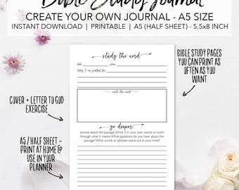 Bible Study Printable Planner Inserts - Create Your Own Scripture Journal - INSTANT DOWNLOAD Bible Study Journal A5 Size Half Sheet 5.5x8.5