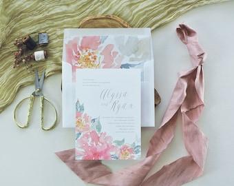 COURTNEY SUITE // Watercolor Flower Wedding Invitation, Botanical, Peony, Garden Wedding, Roses, Peach, Spring Wedding, Summer Wedding, Gray