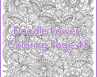 Colouring page zendoodle flowers, printable adults, digital PDF, zentangle inspired, doodling, intricate patterns.