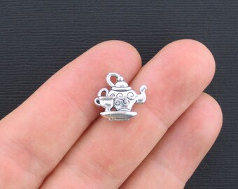 6 Tea Pot Charms Antique Silver Tone 2 Sided with Little Tea Cup - SC1124
