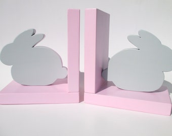 Pair of Bunny Bookends, Childrens Room Decor, Childrens Bookends, Rabbit Bookends, Easter Gift, Bunny Decor, Nursery Decor, Kids Bookends