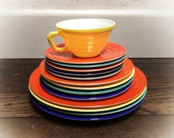 14pc Hazel Atlas Moderntone Platonite American 1940s Vintage Dinnerware Fiesta Companion Colors Primary Yellow, Orange,Cobalt Blue,Green