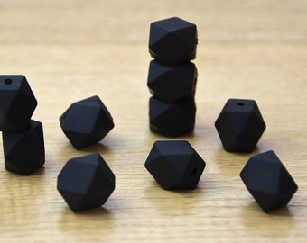 Silicone Beads/BLACK 19mm Geometric Silicone beads, 10 pack