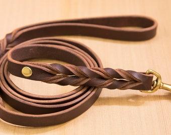 "Handmade Braided-End Latigo Leather Dog Leash 5/8"" with Brass Hardware item 309"