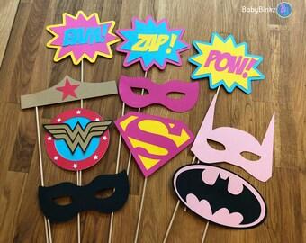 Photo Props: The Female Super Hero Set (10 Pieces) - party wedding birthday justice league wonderwoman girl batgirl supergirl centerpiece