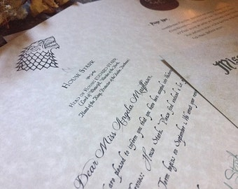 Game of Thrones Acceptance Letter - House Stark