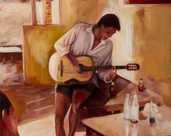 The Guitar Player  - Print on Canvas, Colorful Painting Print