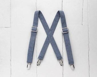 Little Boys Suspenders - Boys Chambray Suspenders Blue Toddler Suspenders Blue Suspenders Baby Boys Suspenders Blue Baby Suspenders