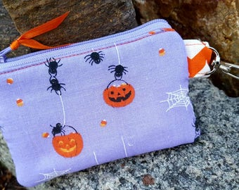 Halloween Coin Purse,  Zipper Wallet, Kids Zipper Pouch, Kids Change Purse, Spider Coin Purse