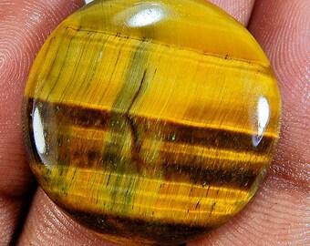 Brown Tiger Eye Round 26X26X6 Mm Cabochon  Gemstone ;#2125