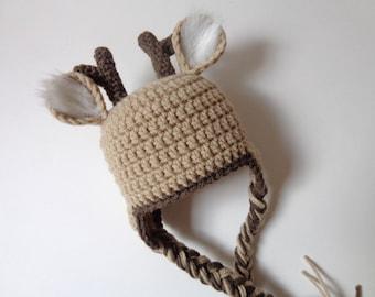 Newborn Crochet Deer Hat Photo Prop Baby Boy baby Girl