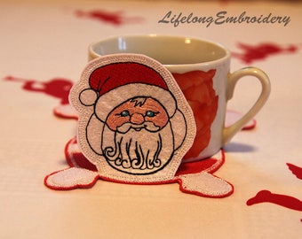 Machine Embroidery Santa Coaster of Felt Design.  ITH. Digital Design.