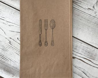 Utensil bags - Utensil Party bag - Kraft Cutlery bag - Wedding - Candy Bar - Kraft Cutlery Holder - Candy Bar Buffet  Stamped Silverware bag