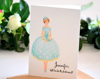 Be My Bridesmaid Card Bridesmaid Proposal Bridesmaid Gift Bridal Party Gifts Maid of Honour Matron of Honour Personalised Gift Mint
