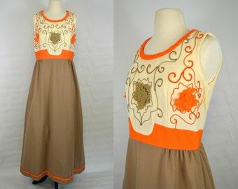 1970s Ivory, Orange and Cocoa Brown Sleeveless Empire Waist Maxi Dress