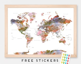 World map poster etsy world map poster watercolor floral travel world map stickers included gift idea gumiabroncs Gallery