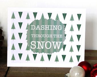 Handmade Christmas Card, Dashing Through the Snow, Green White, Modern Trees, Unique, One of a Kind, Blank Inside, Free US Shipping