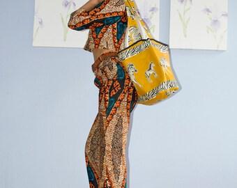 Shoulder bag, Tote bag, Cotton bag, Batik bag, Animal print bag, African print bag, Yellow bag, Casual bag, Shopping bag