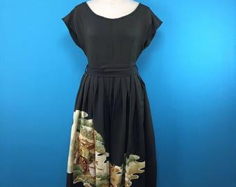 Japanese black kimono dress - french sleeve - vintage silk - US size 8