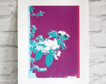 screen print - hand printed limited edition art - floral print - spring blossom art
