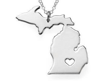 State of Michigan Pendant Necklace