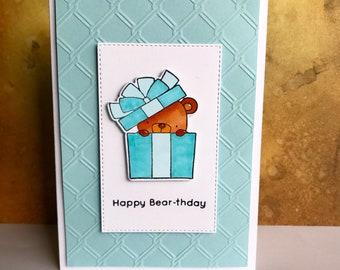 Blue Bear Present Birthday Card, Birthday Card, Greetings Card