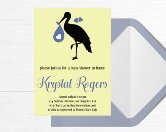 Baby Shower Invitation Stork Baby Hearts Blue Yellow Digital Download Printable Custom Baby Girl Baby Boy 5x7