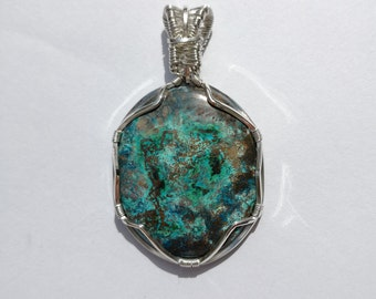 Pendant shattuckite, sterling Silver Wrapped shattuckite pendant, Collar, necklace, wire Wrapped