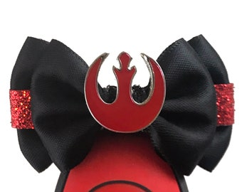 """Rebel Allaince (Red) Magic Band Bow or Apple Watch Bow, 2"""" Mini Hair Bow, Planner Bow - Star Wars Collection"""