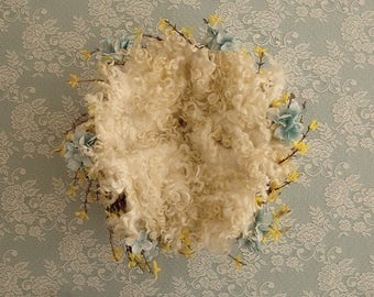 Blue Floral, Yellow floral, White lace, White Curly layer, Digital Background, Newborn